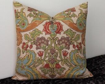 "Kravet Lutron Vintage Print - 18"" or 20"" Square Decorative Designer Pillow Cover"