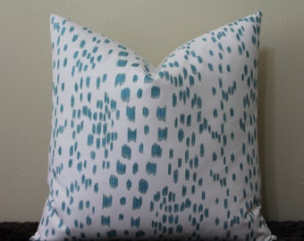 "SALE - SET Of TWO - 18"" x 18"" Les Touches Brunschwig and Fils Print in Aqua  - Decorative Designer Pillow Covers"