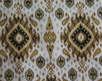 FABRIC For Sale - 3.5 yds. - Swavelle/Mill Creek Ikat - Kennebac Sandstorm - 3.5 Yards - Brown, Gold, Grey, Black and Off White