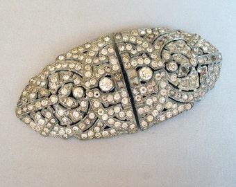 Vintage Art Deco Rhinestone Duette Brooch Dress Clip Pair
