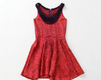 FREE SHIP  vintage paisley mini dress with faux fur collar, boho dress
