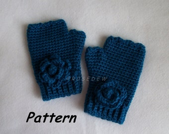 Instant Download to PDF CROCHET Pattern: Ribbed Cuff Fingerless Mitts with Rosettes