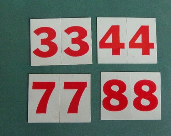 """Vintage Esso Gas Numbers Mid Century Small 1 """" double  NUMBERS U Pick 1 Great for SPORTS numbers Scrapbooking Dates, Label Storage VERSATILE"""