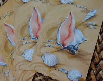 RICH & MELLOW, Whelk Seashell, Gorgeous Shells in Sand 4 VTG Playing cards, REpurpose for gift tags, Wedding placecards, party food markers,