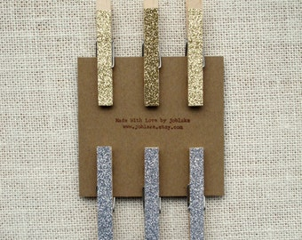 Large Glitter Clothespins (6) - Place Card Holders - Sparkly Silver and/or Glittery Gold - Wedding Decor, DIY - Rustic Chic, Fun, Whimsical