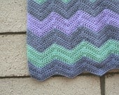 Baby Blanket Chevron Soft Purple Grey Mint Green Striped Textured