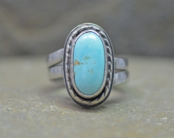 Turquoise Ring, Size 8 and half, American Turquoise Ring, Pilot Mine Turquoise, Sky Blue Gemstone Ring
