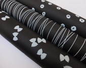 PASTA LOVE, Handprinted Wrapping Paper, black & white, 3 Sheets, 70 x 50 cm
