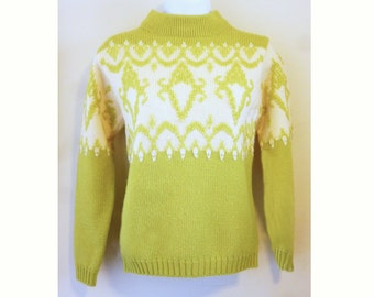 1960's Scandinavian inspired Wool Pullover with hand embroidery, by GARLAND, size 34