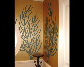 Coral Stencil for Walls - Staghorn Coral - Large, Reusable stencil for DIY Home Decor