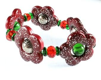 Christmas Flower Stretch Bracelet, Mixed Media