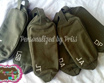 Men's Army Style Travel Kit Toiletry Bag Groomsman Gifts (Set of 5)