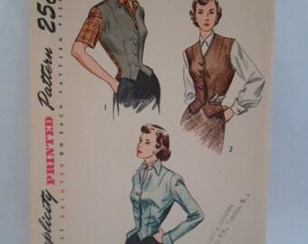 Vintage Simplicity 1949 women's sleeveless  blouse  top  shirt button front weskit vest button front pattern
