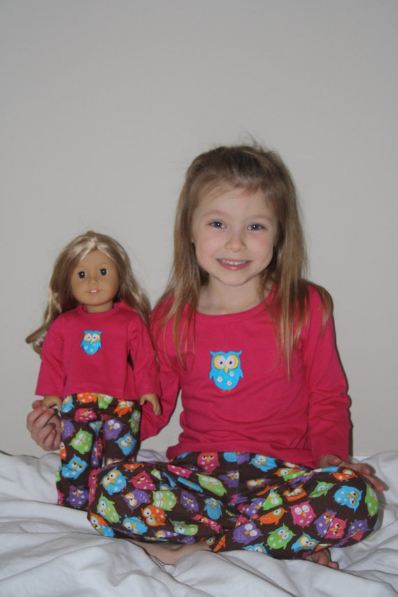 Little Girl Owl Pajama Pants and Shirt with Matching 18