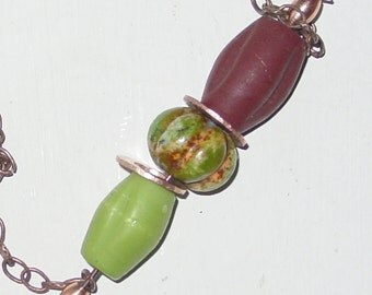 NEW FALL NECKLACE - Primitive Design - Pumpkin Shaped Turquoise, Glass, and Hammered Copper