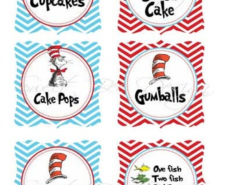 Dr Seuss Thing 1 & Thing 2 Food Labels Birthday Party or Baby Shower