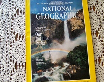 Vintage National Parks National Geographic Magazine July 1979 Visitors guide 320 Park Sites Nat Geo Magazine Parks and Recreation Summer Vac