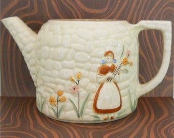 1940's Porcelier Cobblestone Dutch Girl Motif Tea Pot/Planter