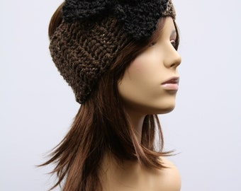 Brown Speckle  Headband with Black Bow