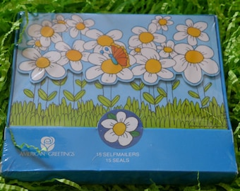 Vintage American Greeting Springtime Butterfly Daisy Fold-A-Notes