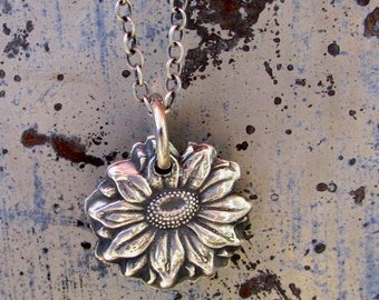 Sunflower Necklace, Silver Sunflower, Sunflower Pendant, Silver Jewelry,  Summer/ Fall Neclace