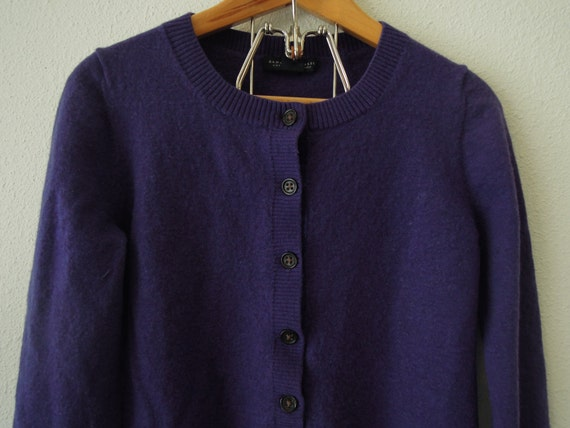 Vtg 90 39 s shrunken wool deep purple cardigan sweater size for How to stretch wool that has shrunk