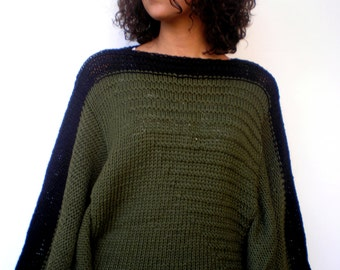 Fashion Poncho Sweater Trendy Olive Green and Black Wool  Hand Knit Woman Sweater NEW