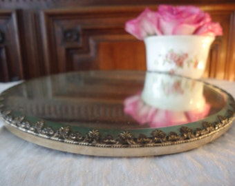 Antique Vintage Round Vanity Mirror with Beveled Silver Plate Detailed Edge
