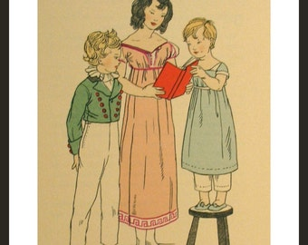 Vintage Book Prints, English Children's costumes from 1770's to 1790's era