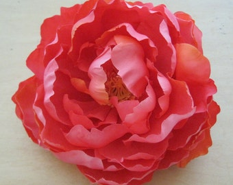 Variegated Coral Peony Silk Flower Hair Clip
