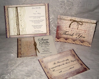 Listing Lace and Twine Wedding Invitations, French Market Elegant Package Shabby Chic, Haute Couture