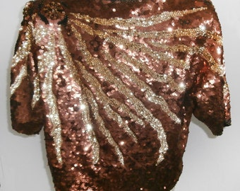 Gorgeous Bead and Sequins Vintage Top   Size large