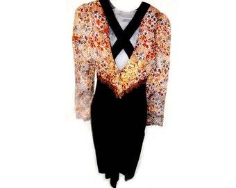 Gorgeous Black Velvet and brocade dress by Designer Jessica McClintockSize 4