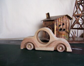 Toy Sports Car Designed for the Kids, Children, Handcrafted from Upcycled Wood
