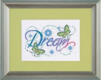 Cross Stitch Kit - DREAM - Design Works Inspirational Butterfly Counted Cross Stitch Needlework Kit - Dream Cross Stitch
