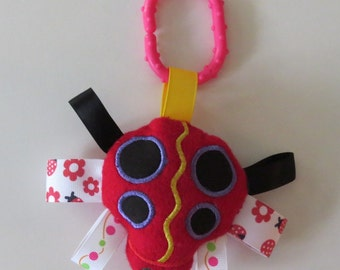 Lady Bug Baby Toy, Stroller Toy, Ribbon Toy, Squeaker or Musical Toy