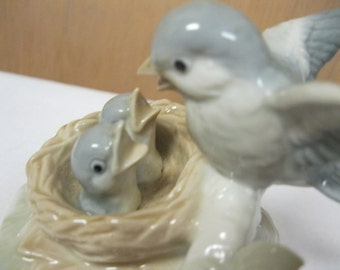 Vintage Otagiri Japan Music Box Teach the World to Sing Blue Birds in Nest Working Collectible To Enjoy & Share Great Song Beautiful Display