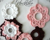 Cherry Blossom Necklace PDF Crochet Pattern  - crocheted flower necklace, crocheted rings, photo tutorial
