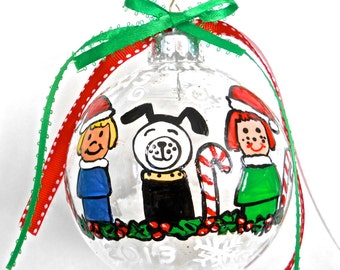 """Little people (vintage ones) hand painted 4"""" ornament"""