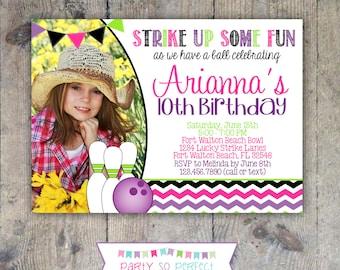 BOWLING INVITATION 5x7 Photo Birthday Party - Girl Printable