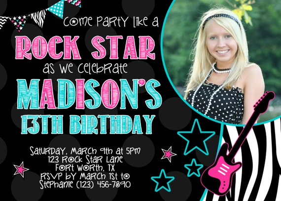 rock star 5x7 photo birthday party invitation girl printable by party so perfect catch my party. Black Bedroom Furniture Sets. Home Design Ideas