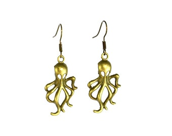 Gift for Teenage Girls - Squid Earrings - Gift for Teen - Brass