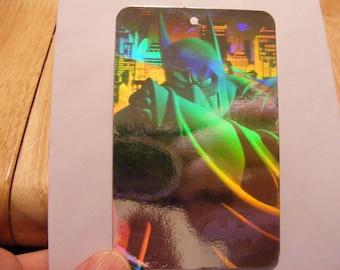 vintage Batman hologram, Batman card, early rainbow hologram card from 1991, Batman tag, Super Heroes, D.C. Comics