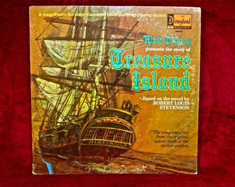 WALt DISNEY presents the story of - TREASURE ISLAND - 1970 Vintage GATEfold  Vinyl Record...w/ Full-color Illustrated BookV