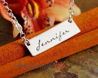 Personalized Jewelry - Hand Stamped Sterling Silver Necklace - One Name Horizontal Tag Necklace