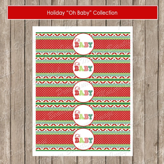 Christmas red and green oh baby chevron baby shower water bottle label