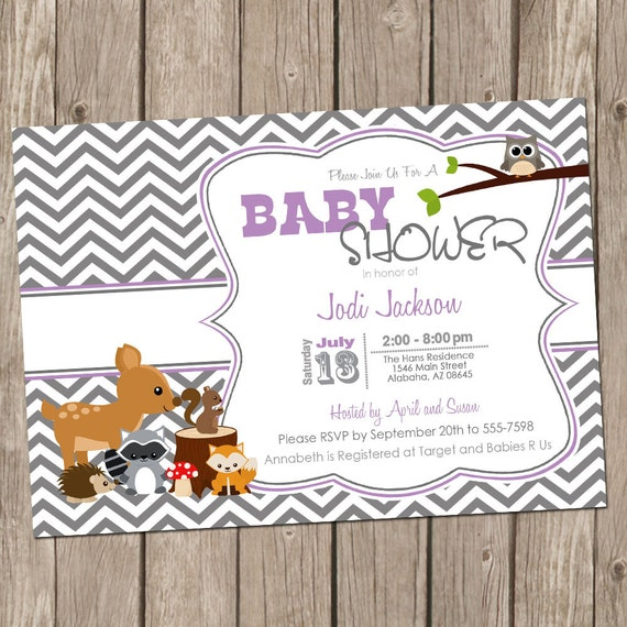 Woodland forest baby shower invitation purple and gray chevron il570xn filmwisefo