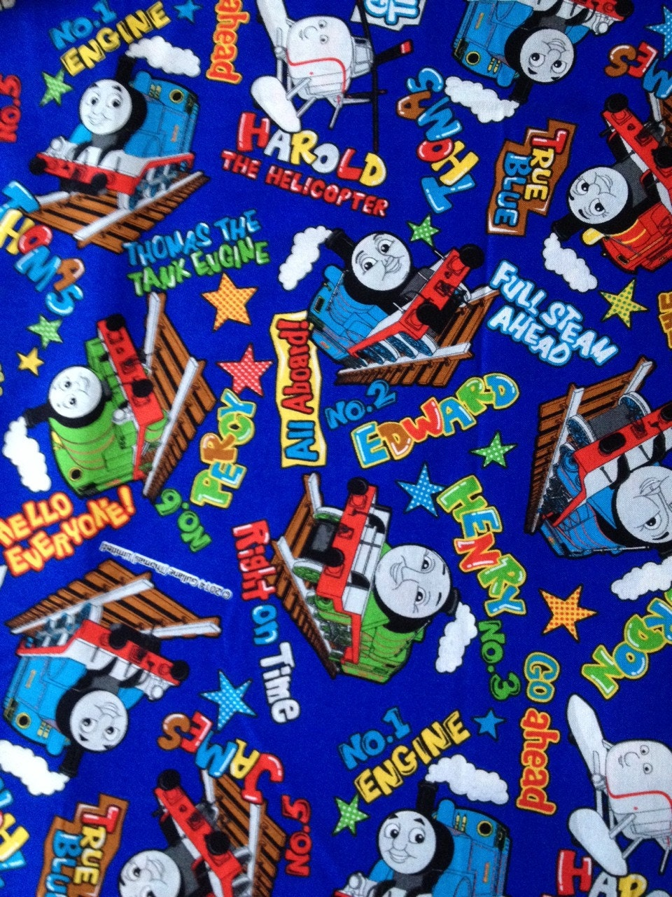 Thomas the train fabric blue colour half yard special offer for Train print fabric