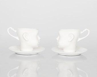 Porcelain doll head cups - set of two cups with saucers, coffe mug or tea mug, white artisan cups