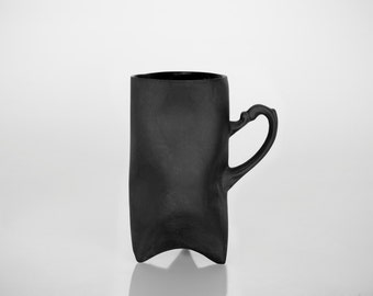 Black Porcelain cup, ceramic cup, ceramic mug handbuilt coffee cup or tea cup by Endesign